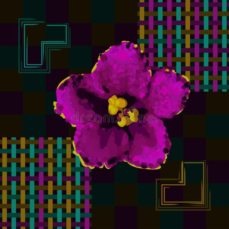 Bezszwowy żyłkowany wzór kwiaty i linie ilustracja wektor