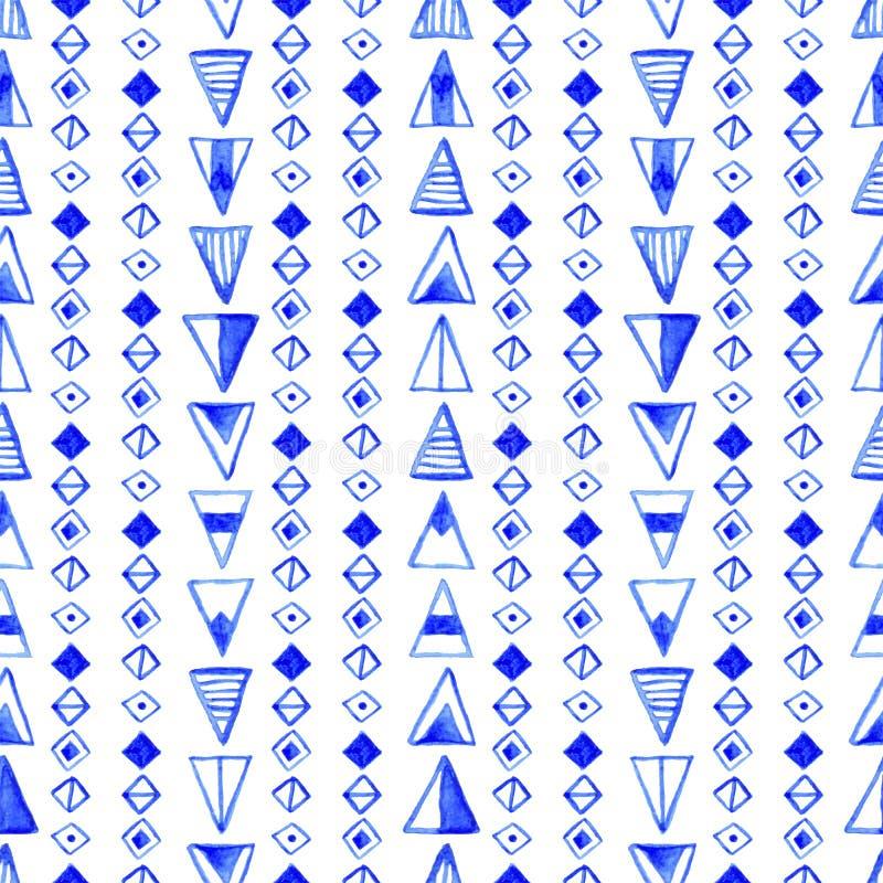 Bezszwowy abstrakcjonistyczny akwarela wzór, ręka rysujący geometryczny tło ilustracja wektor