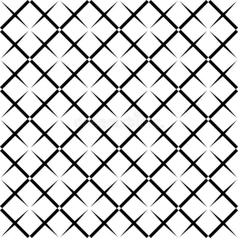Bezszwowy abstrakcjonistyczny czarny i biały kwadratowy siatka wzór - halftone tła wektorowy projekt od przekątny zaokrąglającej  ilustracji