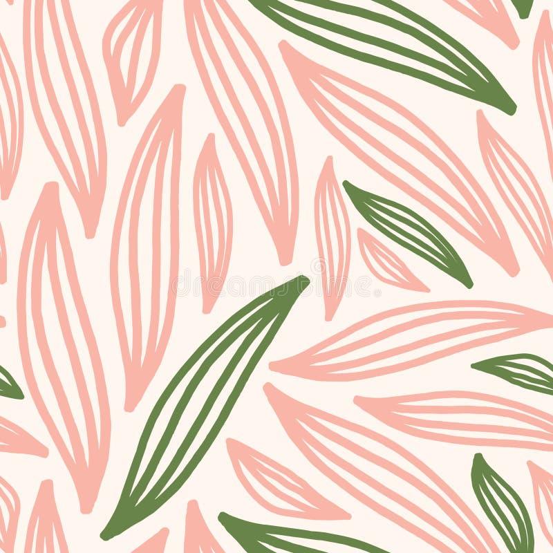Bezszwowy Abstrakcjonistyczny Delikatny liści kształtów wzór obrazy stock