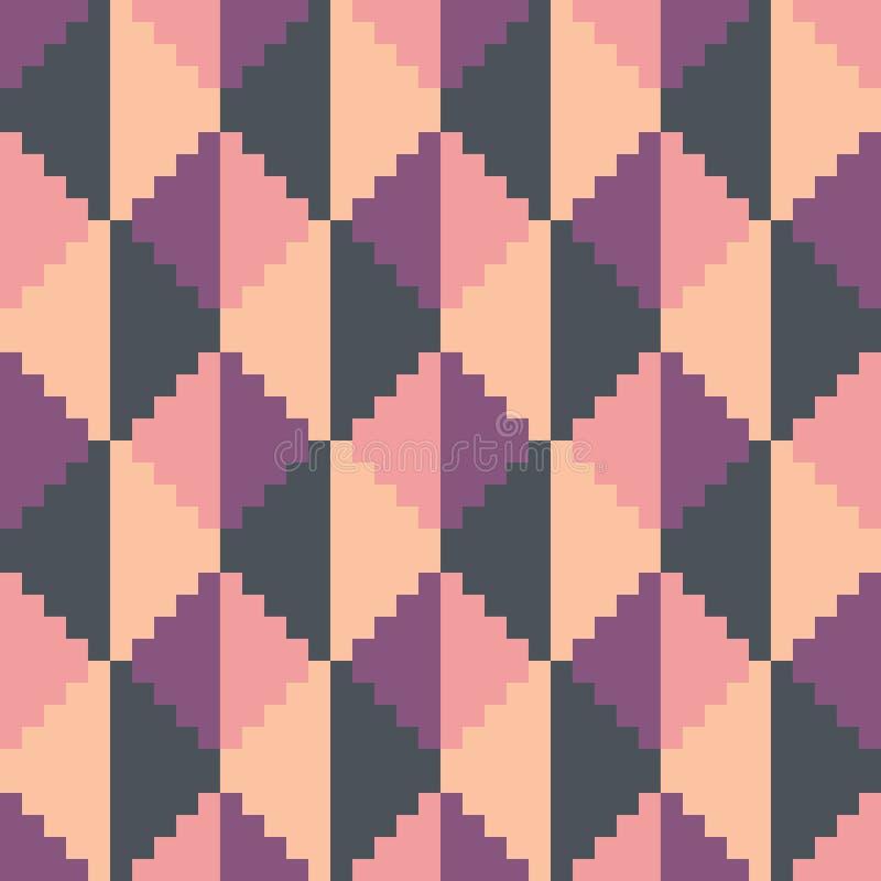 Bezszwowy abstrakcjonistyczny geomatric piksel menchii diamentu wzór royalty ilustracja