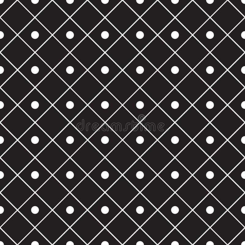 Bezszwowy abstrakcjonistyczny geometryczny kwadratowy siatki linii i kropka wzoru tło ilustracja wektor