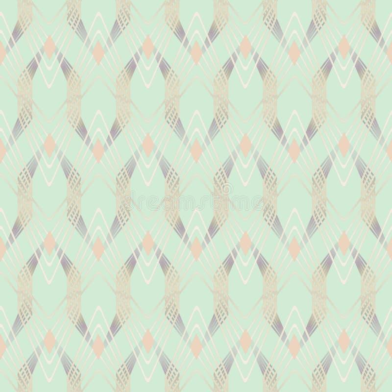 Bezszwowy abstrakcjonistyczny geometryczny wzór w art deco stylu, jasnozielony tło royalty ilustracja
