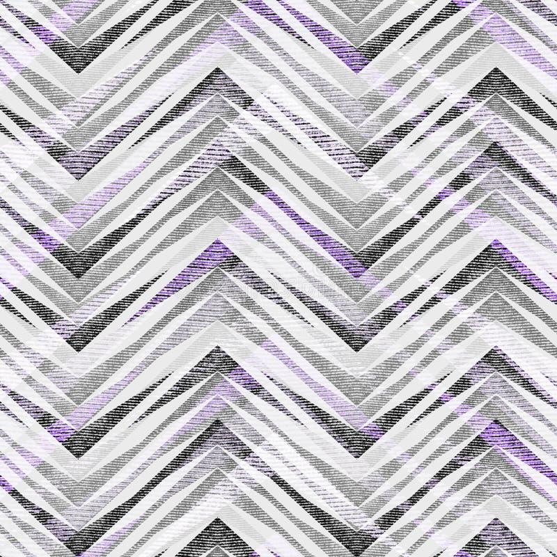 Bezszwowy abstrakcjonistyczny geometryczny zygzakowaty wzór na świetle - szary tło ilustracji
