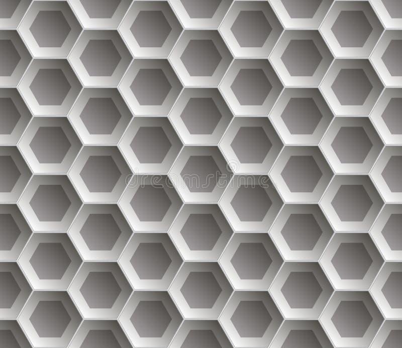 Bezszwowy abstrakcjonistyczny honeycomb tło - sześciokąty Kolor szarość z cieniami ilustracja wektor