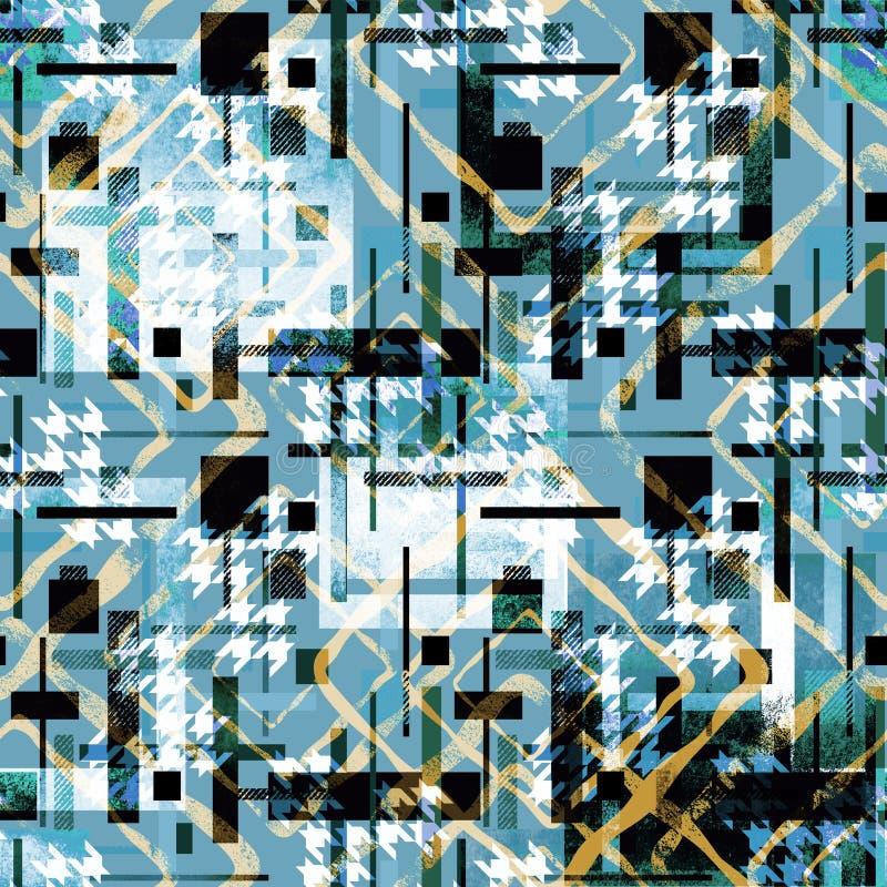 Bezszwowy abstrakcjonistyczny kolorowy wzór z akwarela skutkiem niebieska tła ilustracja wektor