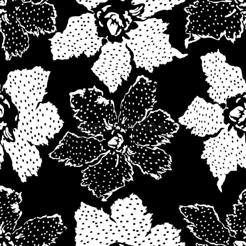 Bezszwowy abstrakcjonistyczny kwiecisty motyw Monochromatyczny kwiatu patchworku tło ilustracji