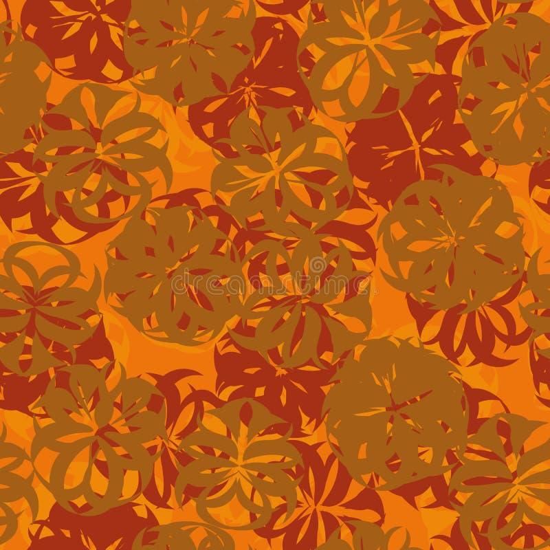 Bezszwowy abstrakcjonistyczny kwiecisty wektoru wzór w rdzy, pomarańcze i czerwonych kolorach, ilustracja wektor