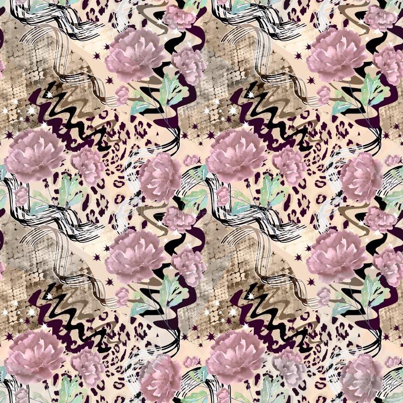 Bezszwowy abstrakcjonistyczny kwiecisty wzór na lampart skóry teksturze, wąż ilustracji