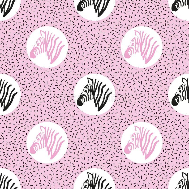Bezszwowy abstrakcjonistyczny modny wzór z zebr głowami ilustracja wektor