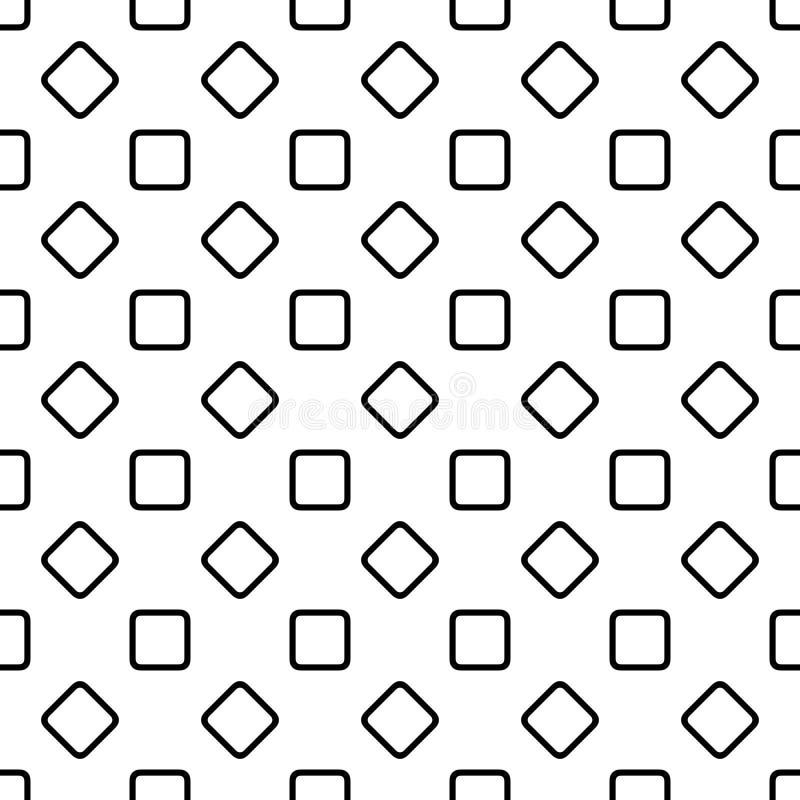 Bezszwowy abstrakcjonistyczny monochrom zaokrąglający kwadrata wzoru tła projekt - halftone geometryczna wektorowa grafika royalty ilustracja