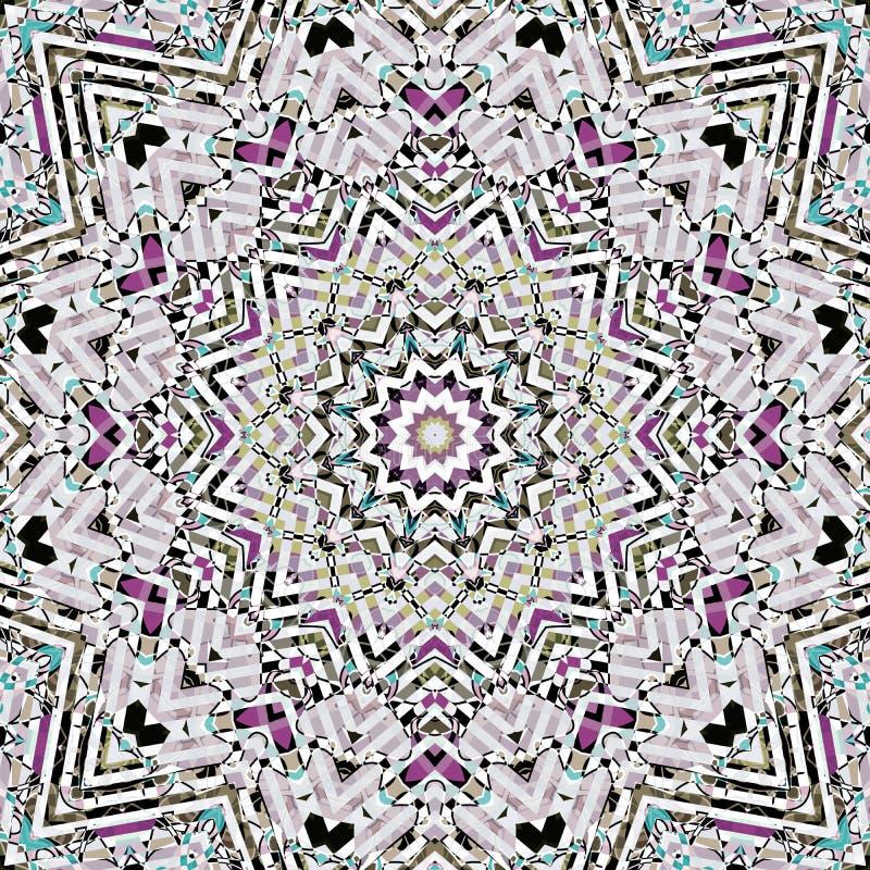 Bezszwowy abstrakcjonistyczny mozaiki kaleidoscop mandala wzór royalty ilustracja