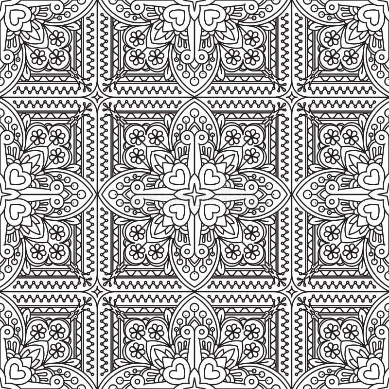 Bezszwowy Abstrakcjonistyczny Plemienny biały wzór Ręka rysujący etniczny ilustracja wektor