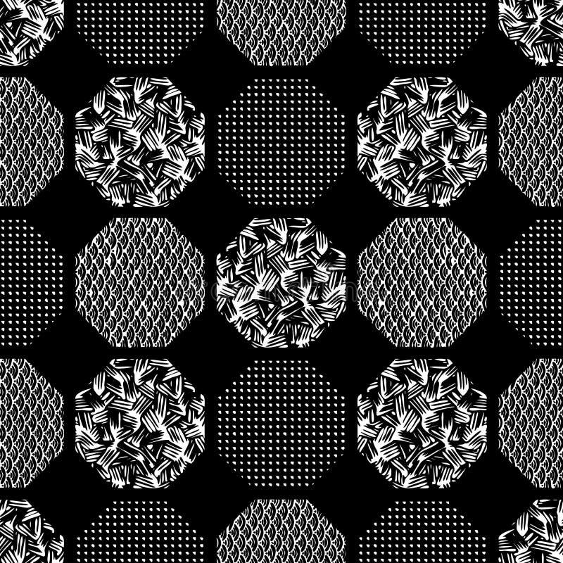 Bezszwowy abstrakcjonistyczny retro geometryczny wzór Wzorzyści, textured sześciokąty w geometrycznym układzie, ilustracja wektor