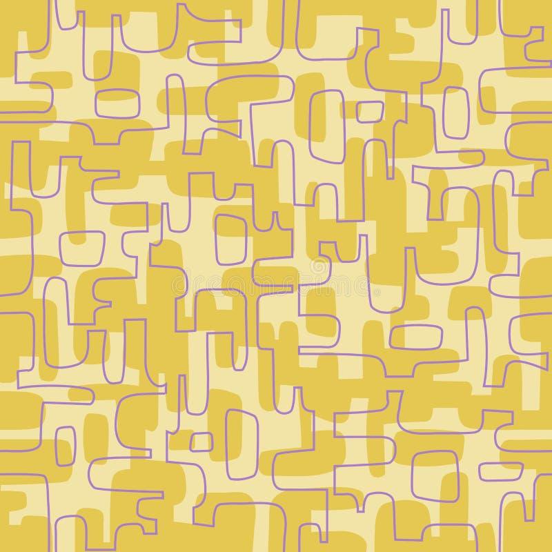 Bezszwowy abstrakcjonistyczny retro projekt organicznie kształty i linie royalty ilustracja