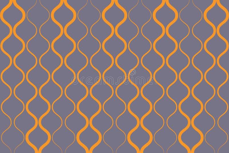Bezszwowy, abstrakcjonistyczny tło wzór robić z curvy kolorem żółtym barwiącym, wykłada ilustracja wektor