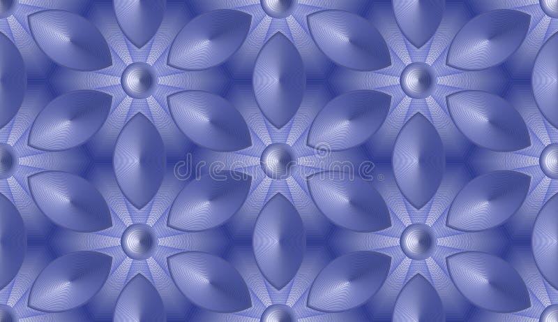Bezszwowy abstrakcjonistyczny tło - fantastyczni kwiaty w heksagonalnych komórkach royalty ilustracja