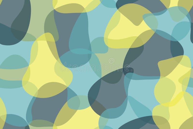 Bezszwowy, abstrakcjonistyczny tło wzór robić z, organicznie, przejrzystymi geometrycznymi kształtami, royalty ilustracja