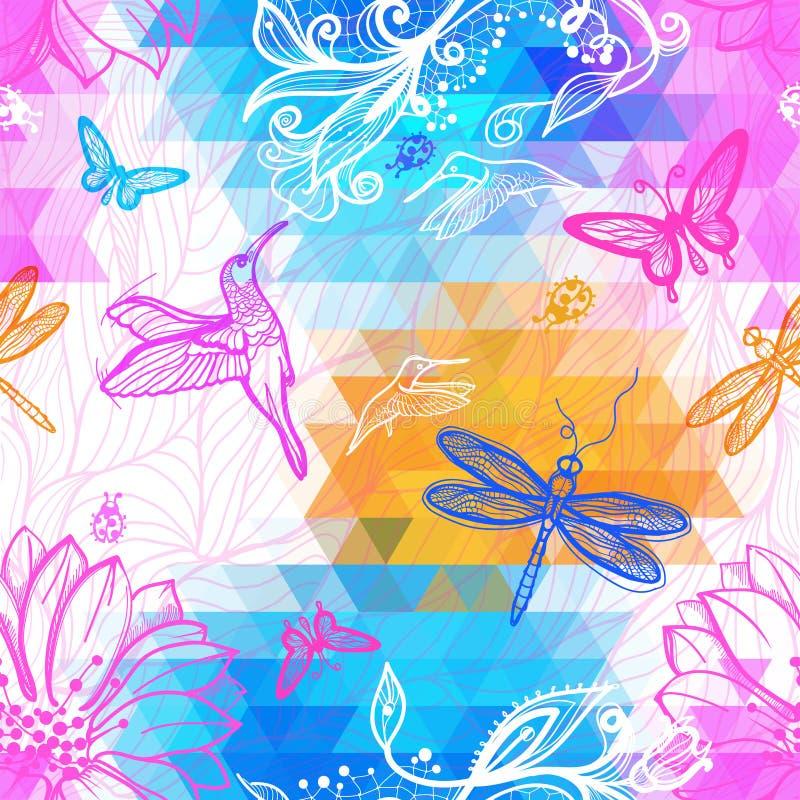 Bezszwowy abstrakcjonistyczny tapetowy geometryczny wzór trójboki ilustracji