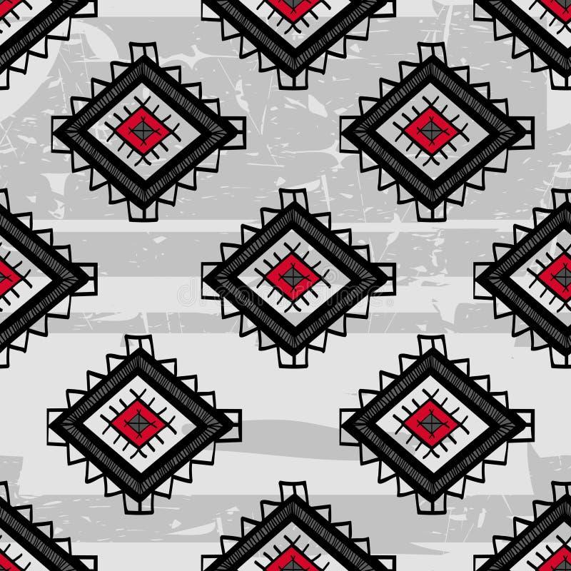 Bezszwowy abstrakcjonistyczny wektorowy etniczny wzór Plemienny wektorowy projekt royalty ilustracja