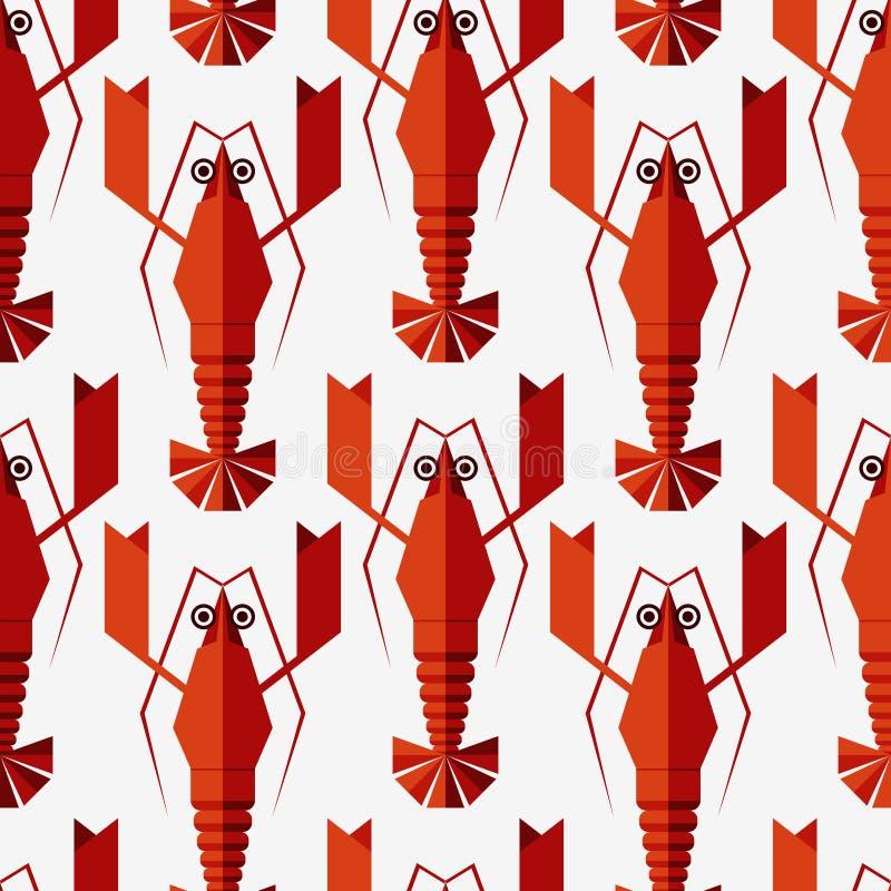 Bezszwowy abstrakcjonistyczny wektoru wzór z geometrycznymi homarami ilustracja wektor