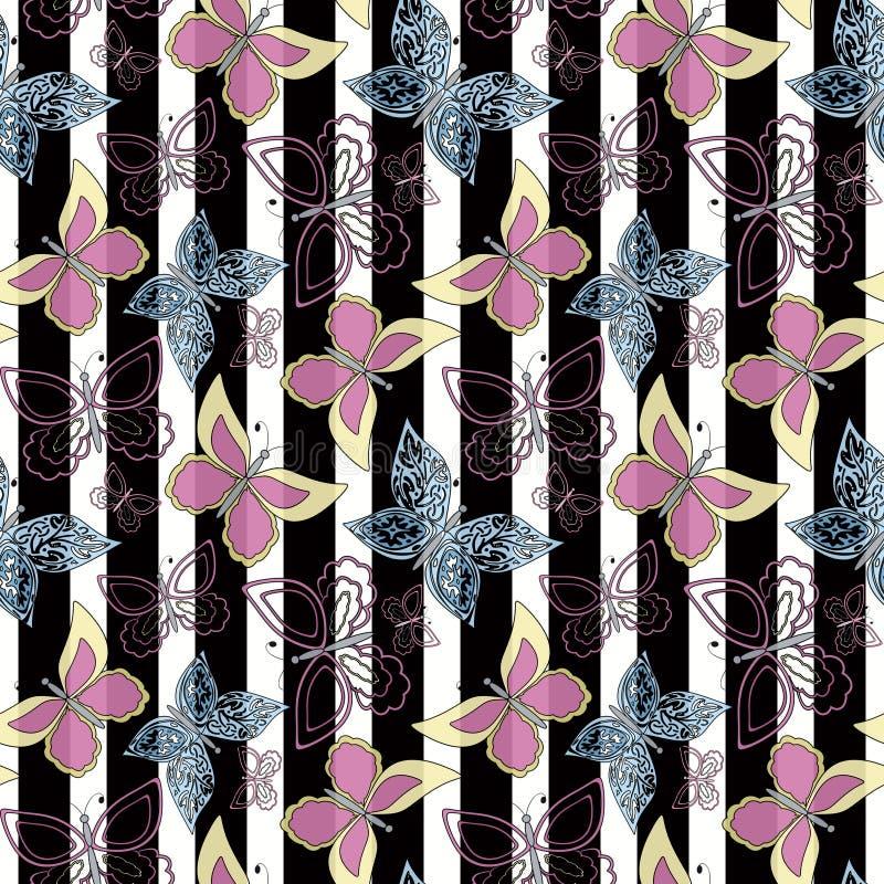 Bezszwowy abstrakt z motyla wzoru lampasa eleganckim tłem royalty ilustracja