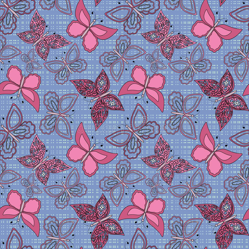 Bezszwowy abstrakt z motyla wzoru tłem ilustracja wektor