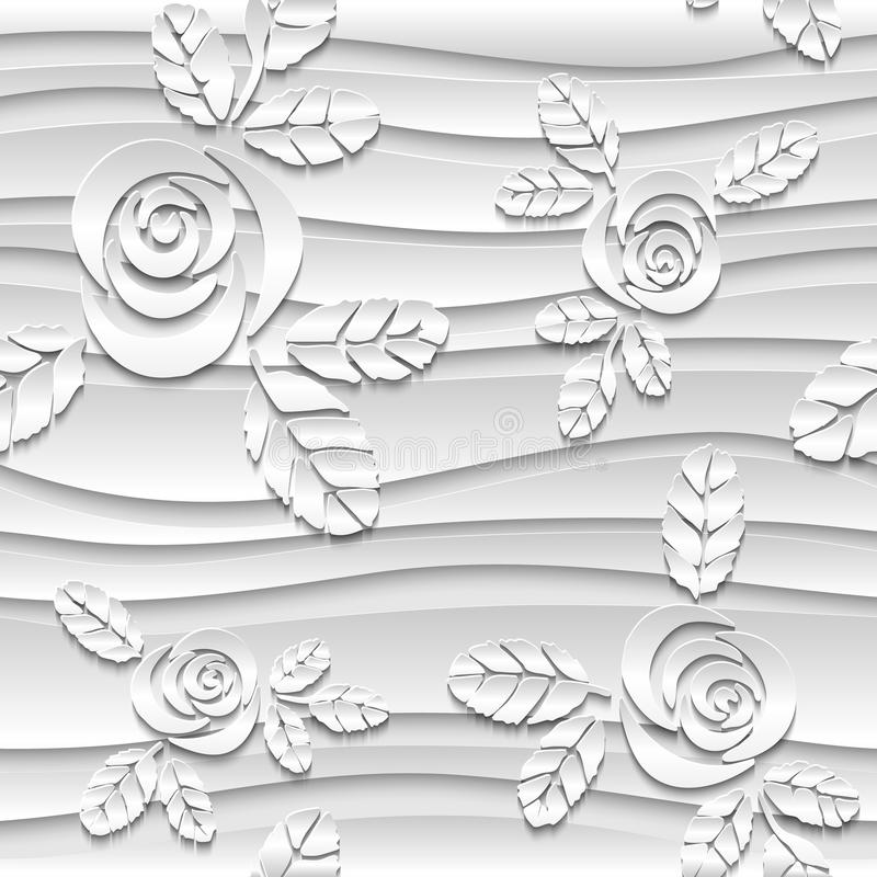 Bezszwowy abstrakta 3D bielu tło Papierowe róże royalty ilustracja
