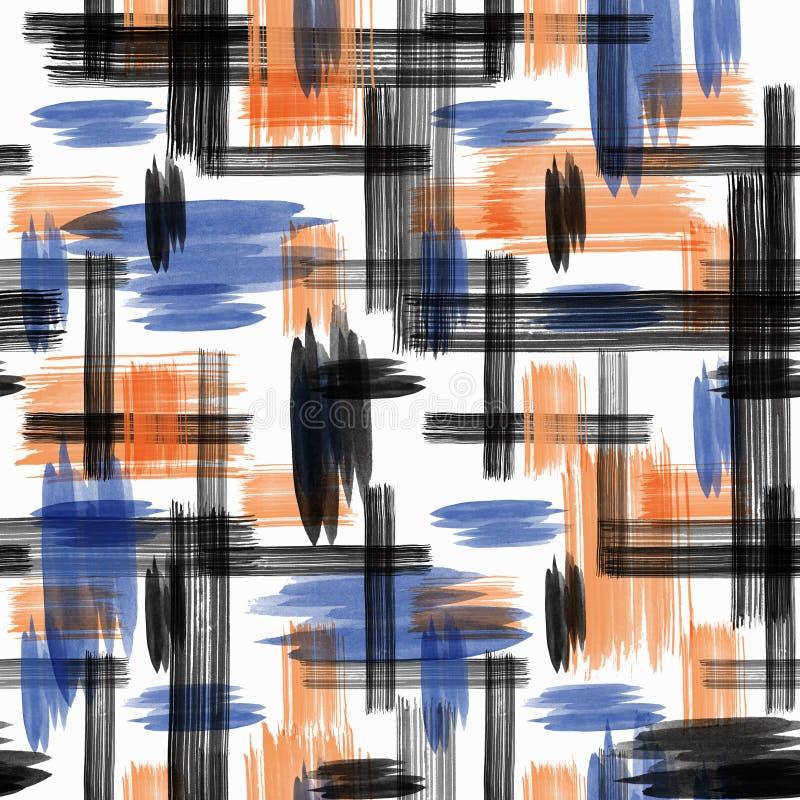 Bezszwowy abstrakta wzór z kleksami i muśnięć uderzenia z akwarela skutkiem ilustracja wektor