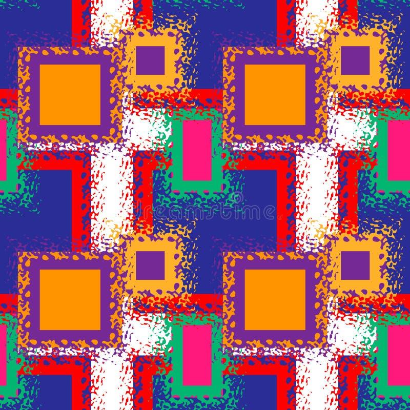 Bezszwowy abstrakta wzór z neonowymi kwadratami, opuszcza i bryzga Retro 80s styl Częstotliwy tło dla mody odziewa ilustracji
