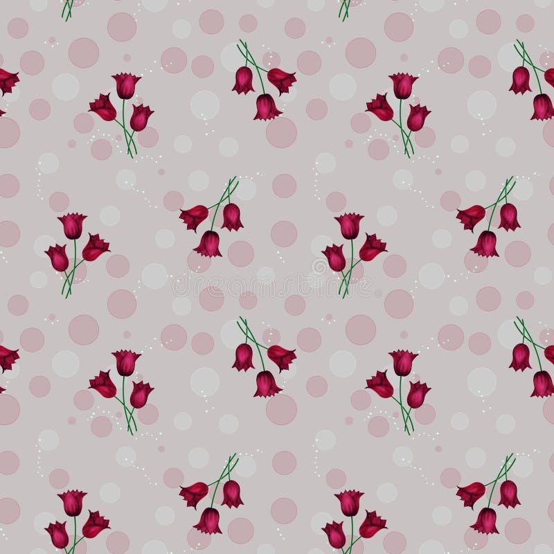 Bezszwowy abstrakta wzór z okręgami i czerwień tulipanami, illustrat royalty ilustracja