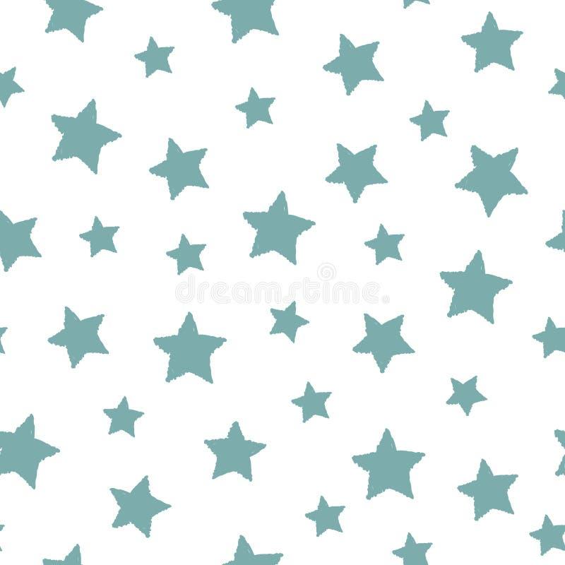 Bezszwowy abstrakta wzór z seledyn ręki rysować podławymi gwiazdami różny rozmiar Biały tło ilustracji