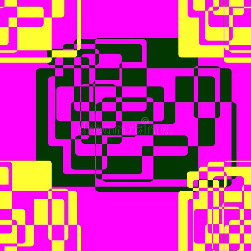 Bezszwowy abstrakta wz?r geometryczni kszta?ty Ciemnozieleni i żółci elementy tworzący od prostokątów royalty ilustracja