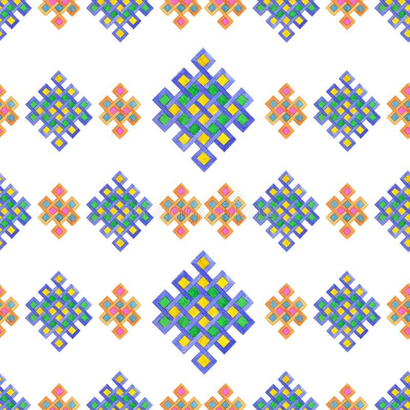 Bezszwowy akwarela celta kępki wzór odizolowywający na bielu royalty ilustracja