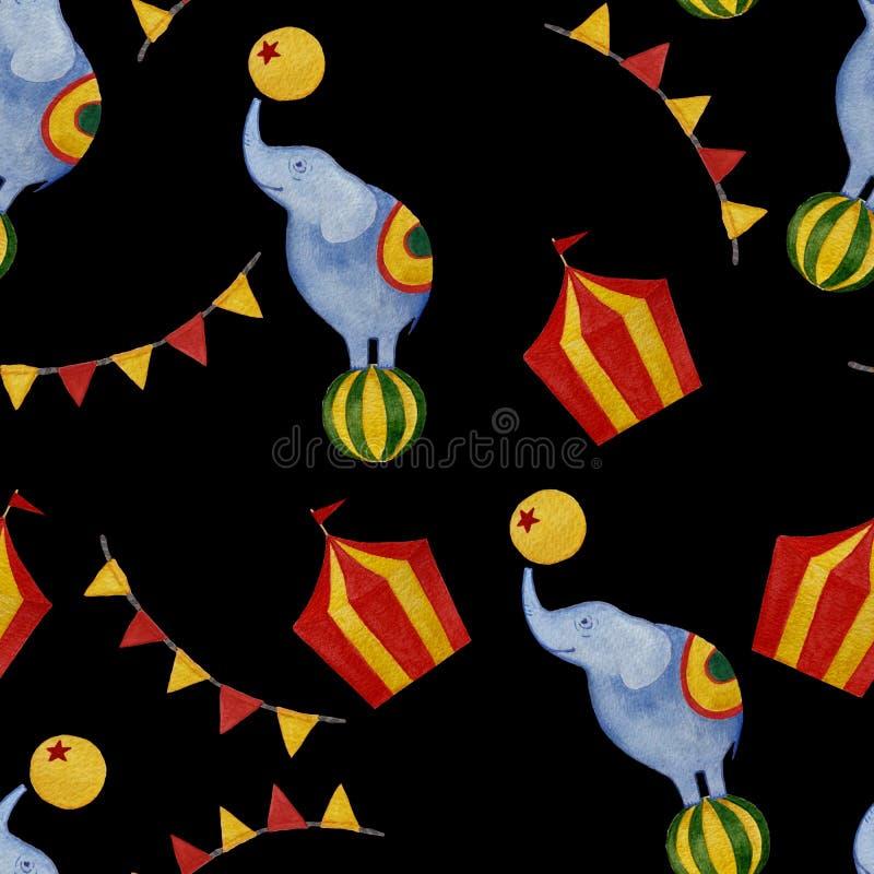 Bezszwowy akwarela cyrka wzór: słoń, flagi, tant ilustracja wektor