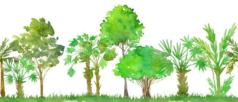 Bezszwowy akwarela krajobraz z drzewkami palmowymi ilustracji