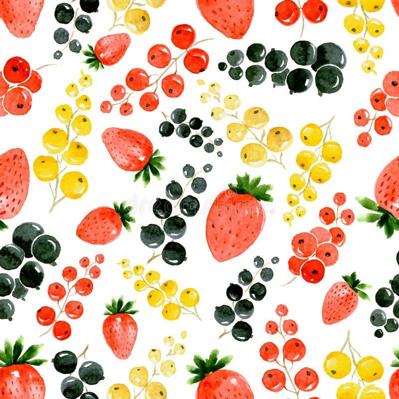 Bezszwowy akwarela wzór na białym tle truskawki, czerwieni, złocistego i czarnego rodzynek, ilustracji