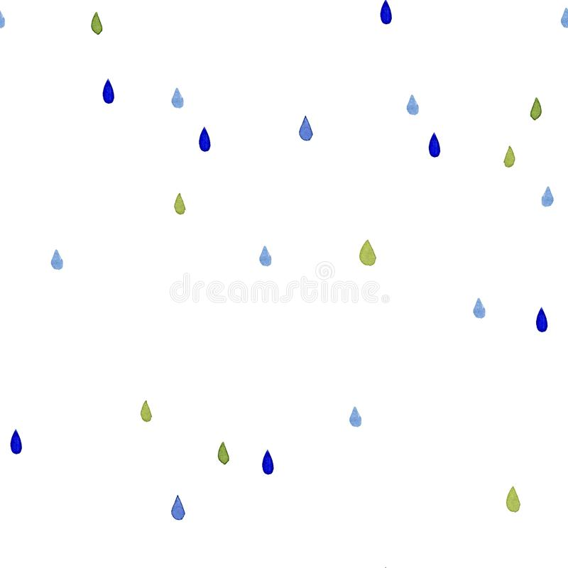 Bezszwowy akwarela wzór Koloru deszczu krople na białym tle ilustracja wektor