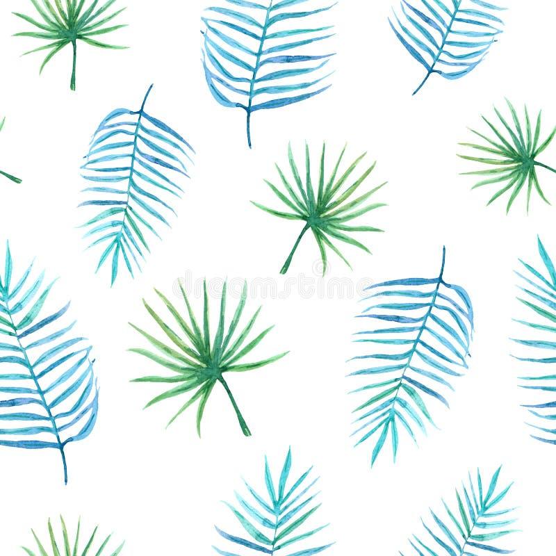 Bezszwowy akwarela wzór ręka malował jaskrawych tropikalnych liście ilustracja wektor