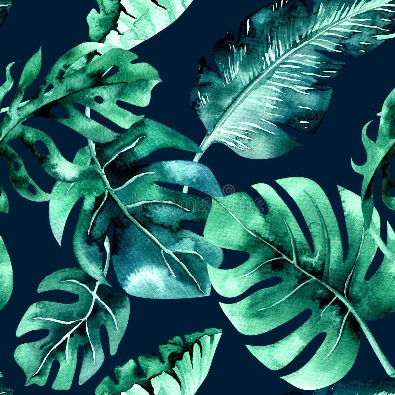 Bezszwowy akwarela wzór tropikalni liście, zwarta dżungla Brzęczenia royalty ilustracja