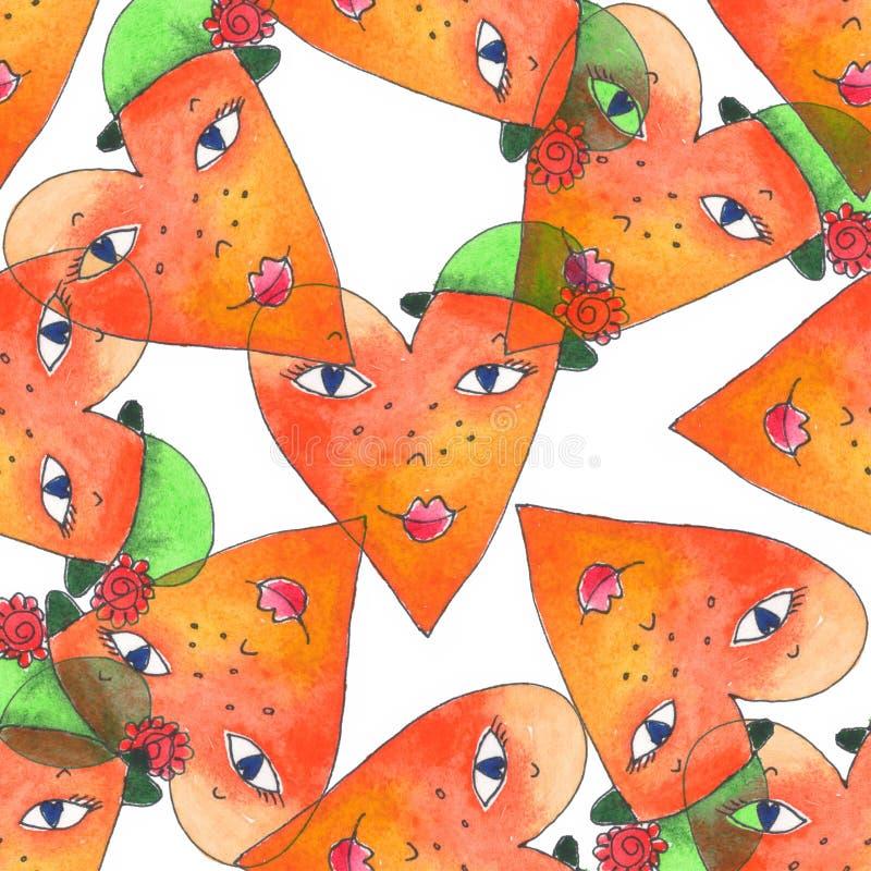 Bezszwowy akwarela wzór z ślicznymi sercami Kreatywnie tło z akwarela ręka malującymi elementami postać z kreskówki dzieci koloro ilustracji
