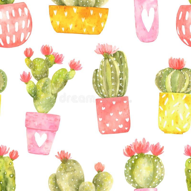 Bezszwowy akwarela wzór z сute kwitnącym kaktusem w jaskrawych garnkach ilustracja wektor