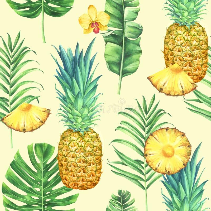 Bezszwowy akwarela wzór z ananasami, tropikalnymi liśćmi i kwiatami na żółtym tle, ilustracja wektor