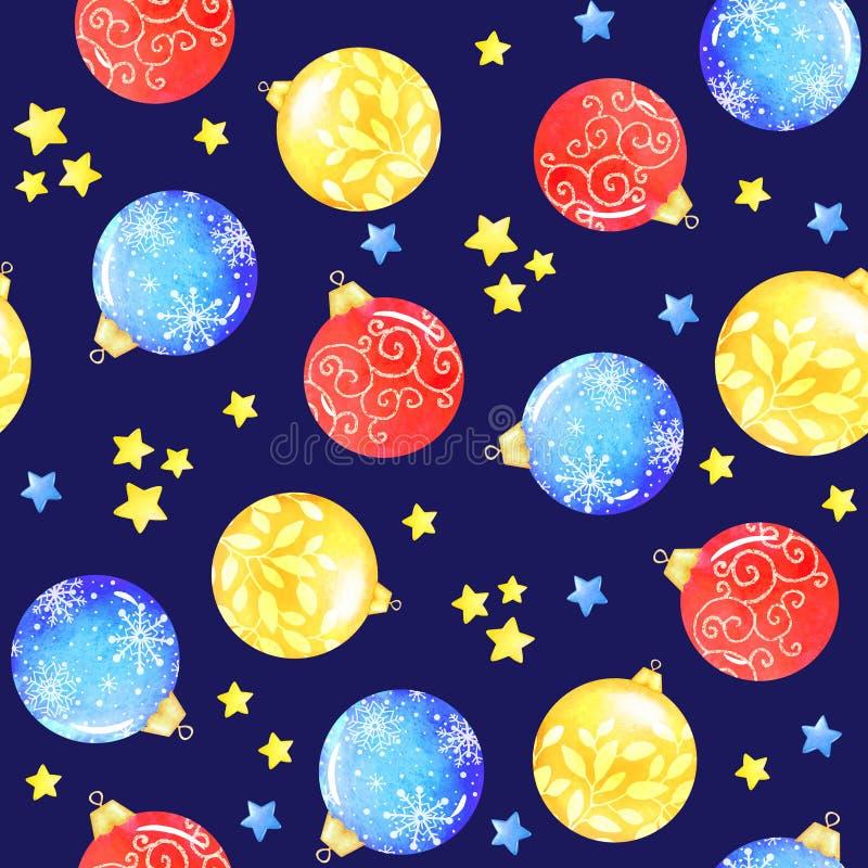 Bezszwowy akwarela wzór z dekoracyjnymi nowy rok piłkami ilustracji
