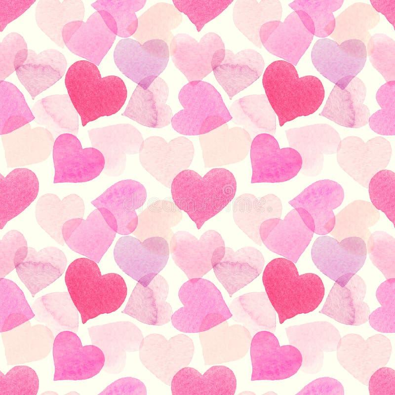 Bezszwowy akwarela wzór z kolorowymi sercami - menchie, purpury, błękitów odcienie ilustracja wektor