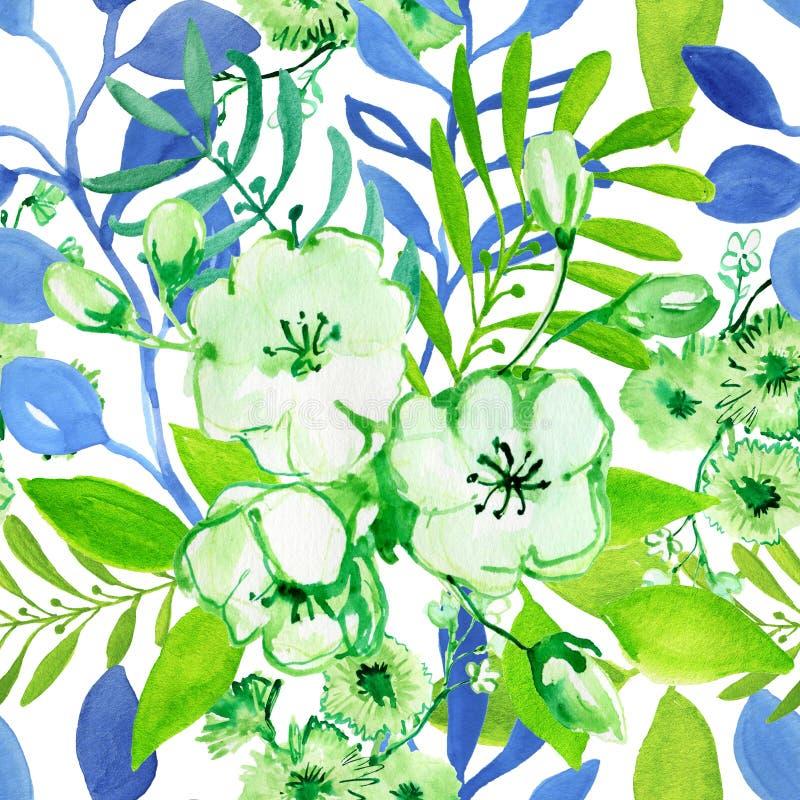 Bezszwowy akwarela wzór z kwiatami ilustracji