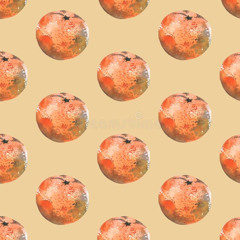Bezszwowy akwarela wzór z tangerines na beżowym tle ilustracja wektor