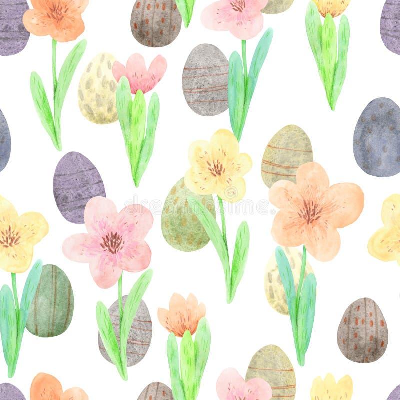 Bezszwowy akwareli Easter wz ilustracja wektor