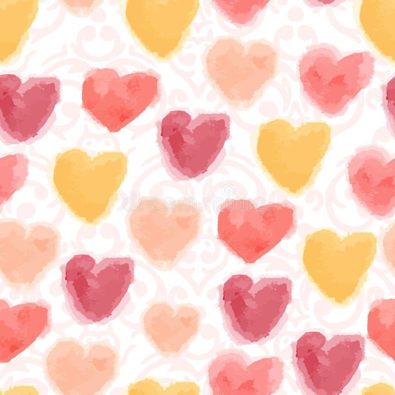 Bezszwowy akwareli serc tło royalty ilustracja