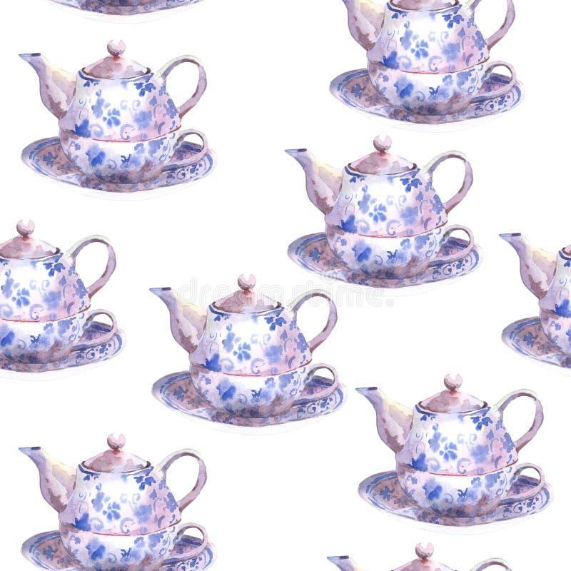 Bezszwowy akwareli tło z teapots royalty ilustracja